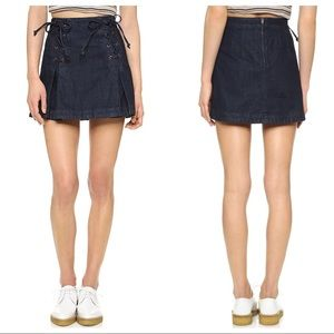 New Free People Denim Lace Up Pleated Skirt 12